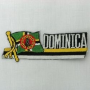 Dominica Sidekick Word Country Flag Iron on Patch Crest Badge .. 3.8cm X 11cm ... New