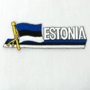 Estonia Sidekick Word Country Flag Iron on Patch Crest Badge .. 3.8cm X 11cm ... New
