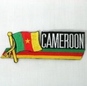 Cameroon Sidekick Word Country Flag Iron on Patch Crest Badge .. 3.8cm X 11cm ... New