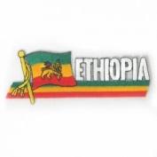 Ethiopia Lion of Judah Sidekick Word Country Flag Iron on Patch Crest Badge .. 3.8cm X 11cm ... New