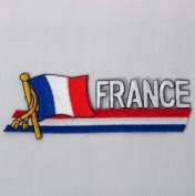 France Sidekick Word Country Flag Iron on Patch Crest Badge .. 3.8cm X 11cm ... New
