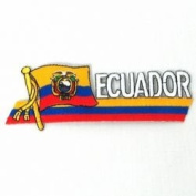 Ecuador Sidekick Word Country Flag Iron on Patch Crest Badge .. 3.8cm X 11cm ... New