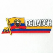 Ecuador Sidekick Word Country Flag Iron on Patch Crest Badge .. 3.8cm X 11cm ... New