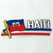 Haiti Sidekick Word Country Flag Iron on Patch Crest Badge .. 3.8cm X 11cm ... New