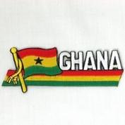 Ghana Sidekick Word Country Flag Iron on Patch Crest Badge .. 3.8cm X 11cm ... New