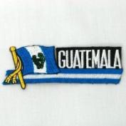 Guatemala Sidekick Word Country Flag Iron on Patch Crest Badge .. 3.8cm X 11cm ... New