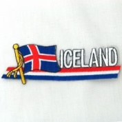 Iceland Sidekick Word Country Flag Iron on Patch Crest Badge .. 3.8cm X 11cm ... New
