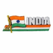 India Sidekick Word Country Flag Iron on Patch Crest Badge .. 3.8cm X 11cm ... New