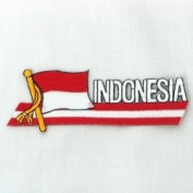 Indonesia Sidekick Word Country Flag Iron on Patch Crest Badge .. 3.8cm X 11cm ... New