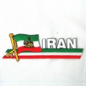 Iran Persian Lion Sidekick Word Country Flag Iron on Patch Crest Badge .. 3.8cm X 11cm ... New