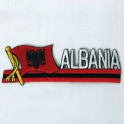 Albania Sidekick Word Country Flag Iron on Patch Crest Badge .. 3.8cm X 11cm ... New