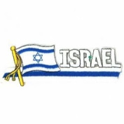 Israel Sidekick Word Country Flag Iron on Patch Crest Badge ... 3.8cm X 11cm ... New