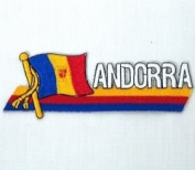 Andorra Sidekick Word Country Flag Iron on Patch Crest Badge .. 3.8cm X 11cm ... New