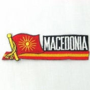 Macedonia Old Sidekick Word Country Flag Iron on Patch Crest Badge ... 3.8cm X 11cm ... New