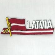 Latvia Sidekick Word Country Flag Iron on Patch Crest Badge ... 3.8cm X 11cm ... New