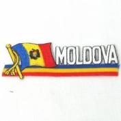 Moldova Sidekick Word Country Flag Iron on Patch Crest Badge ... 3.8cm X 11cm ... New