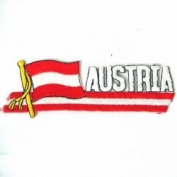 Austria Sidekick Word Country Flag Iron on Patch Crest Badge .. 3.8cm X 11cm ... New