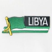 Libya Old Sidekick Word Country Flag Iron on Patch Crest Badge ... 3.8cm X 11cm ... New