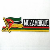 Mozambique Sidekick Word Country Flag Iron on Patch Crest Badge ... 3.8cm X 11cm ... New