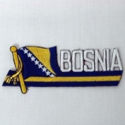 Bosnia New Sidekick Word Country Flag Iron on Patch Crest Badge .. 3.8cm X 11cm ... New