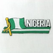 Nigeria Sidekick Word Country Flag Iron on Patch Crest Badge ... 3.8cm X 11cm ... New