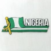 Nigeria Sidekick Word Country Flag Iron on Patch Crest Badge ... 3.8cm X 11cm ... New