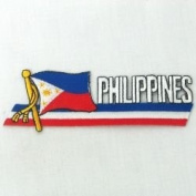 Philippines Sidekick Word Country Flag Iron on Patch Crest Badge ... 3.8cm X 11cm ... New