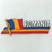 Romania Sidekick Word Country Flag Iron on Patch Crest Badge ... 3.8cm X 11cm ... New