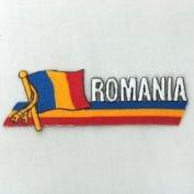 Romania Sidekick Word Country Flag Iron on Patch Crest Badge ... 3.8cm X 11cm ... New