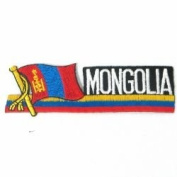 Mongolia Sidekick Word Country Flag Iron on Patch Crest Badge ... 3.8cm X 11cm ... New