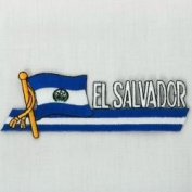 El Salvador Sidekick Word Country Flag Iron on Patch Crest Badge .. 3.8cm X 11cm ... New