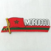 Morocco Sidekick Word Country Flag Iron on Patch Crest Badge ... 3.8cm X 11cm ... New