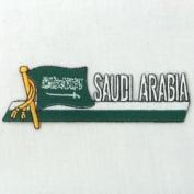 Saudi Arabia Sidekick Word Country Flag Iron on Patch Crest Badge ... 3.8cm X 11cm ... New