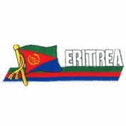 Eritrea Sidekick Word Country Flag Iron on Patch Crest Badge .. 3.8cm X 11cm ... New
