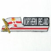 Northern Ireland Sidekick Word Country Flag Iron on Patch Crest Badge ... 3.8cm X 11cm ... New