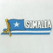 Somalia Sidekick Word Country Flag Iron on Patch Crest Badge ... 3.8cm X 11cm ... New