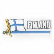 Finland Sidekick Word Country Flag Iron on Patch Crest Badge .. 3.8cm X 11cm ... New
