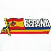 Espana Sidekick Word Country Flag Iron on Patch Crest Badge ... Spain ...3.8cm X 11cm ... New