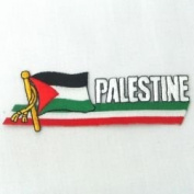 Palestine Sidekick Word Country Flag Iron on Patch Crest Badge ... 3.8cm X 11cm ... New