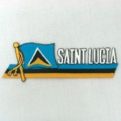 Saint Lucia Sidekick Word Country Flag Iron on Patch Crest Badge ... 3.8cm X 11cm ... New