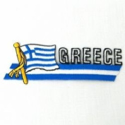 Greece Sidekick Word Country Flag Iron on Patch Crest Badge .. 3.8cm X 11cm ... New