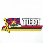 Tibet Sidekick Word Country Flag Iron on Patch Crest Badge ... 3.8cm X 11cm ... New