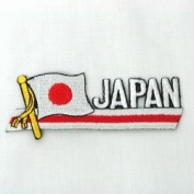 Japan Sidekick Word Country Flag Iron on Patch Crest Badge ... 3.8cm X 11cm ... New