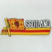 Scotland Lion Rampant Sidekick Word Country Flag Iron on Patch Crest Badge ... 3.8cm X 11cm ... New
