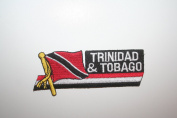 Trinidad & Tobago Sidekick Word Country Flag Iron on Patch Crest Badge ... 3.8cm X 11cm ... New