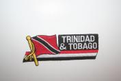 Trinidad & Tobago Sidekick Word Country Flag Iron on Patch Crest Badge ... 3.8cm X 11cm ... New