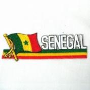 Senegal Sidekick Word Country Flag Iron on Patch Crest Badge ... 3.8cm X 11cm ... New