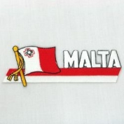 Malta Sidekick Word Country Flag Iron on Patch Crest Badge ... 3.8cm X 11cm ... New
