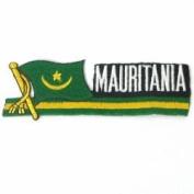 Mauritania Sidekick Word Country Flag Iron on Patch Crest Badge ... 3.8cm X 11cm ... New