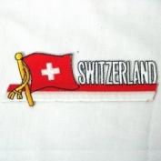 Switzerland Sidekick Word Country Flag Iron on Patch Crest Badge ... 3.8cm X 11cm ... New